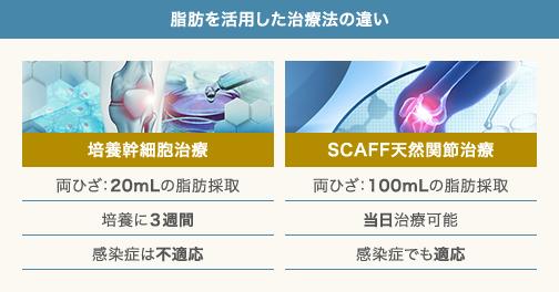 培養幹細胞治療とSCAFF天然関節治療の違い